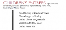King and Prince menu, King and Prince children's menu