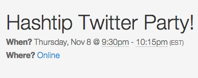hashtip twitter party, twitter party