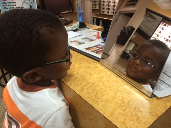 Child in eyeglasses