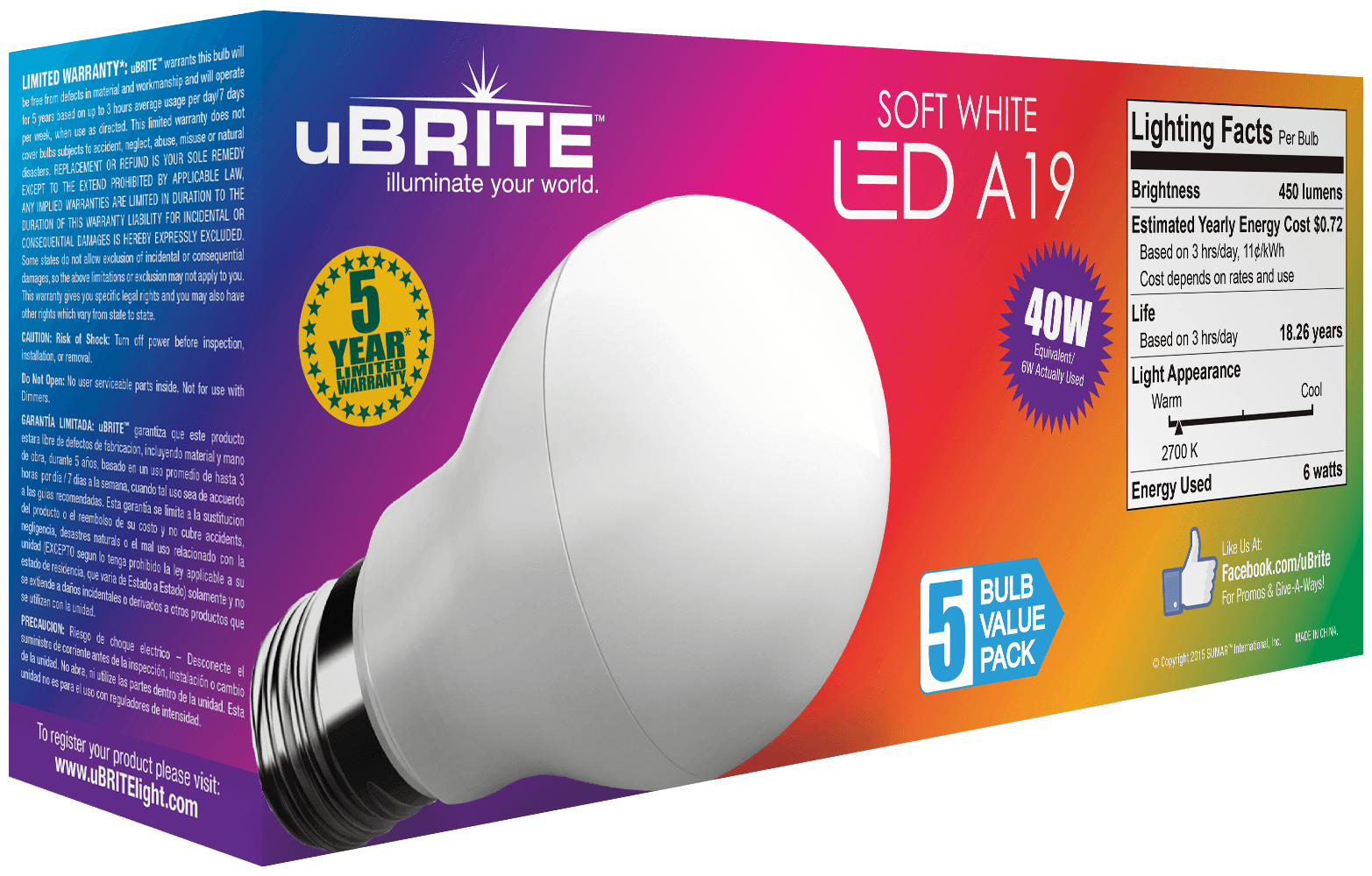 uBRITE 40w Non-Dimmable Five Pack