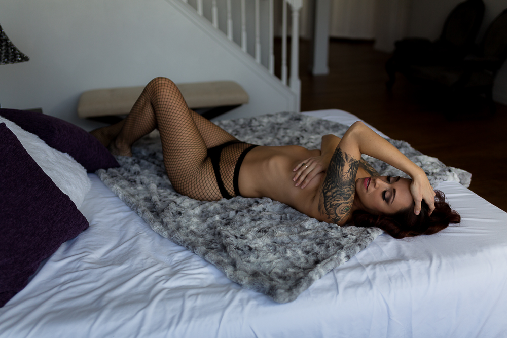 Fishnets and tattoos with Hillary West Boudoir in Chesapeake