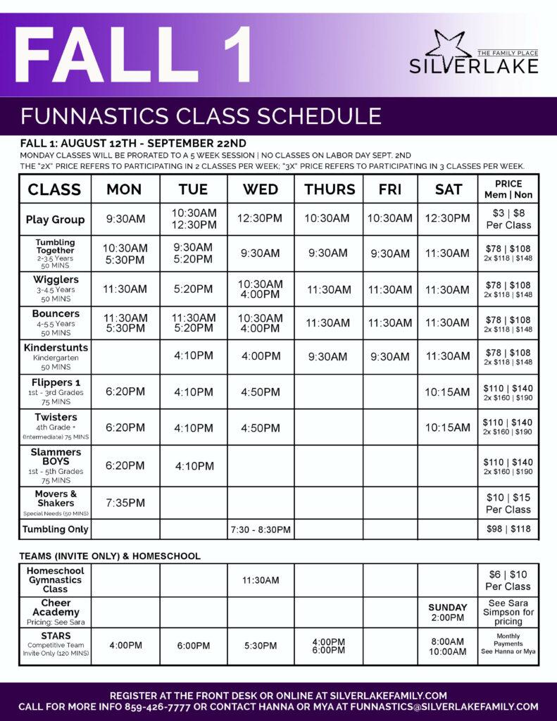 Fall 1 FunNastics 2019 Schedule Front