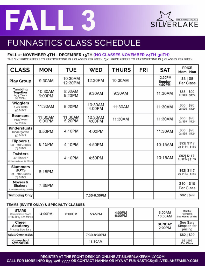 Fall 3 FunNastics 2019 Schedule Front