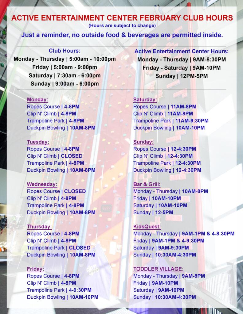 February 2020 Club Hours AEC