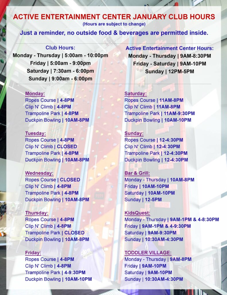 January 2020 Club Hours AEC