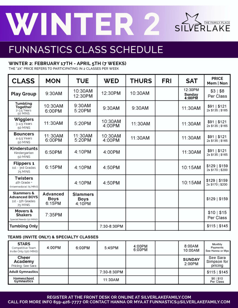 Winter 2 FunNastics 2020 Schedule Front