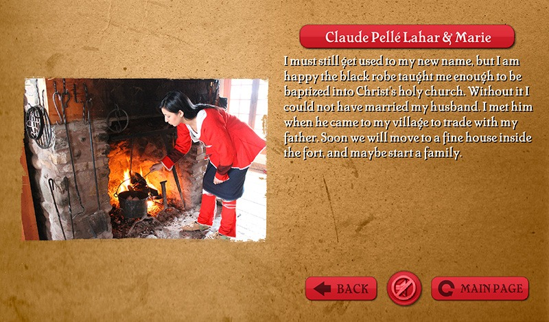 Interactive Touch Screen, screen grab of Claude Pelle Lahar & Marie Bio - People of Michilimackinac - Mackinac State Historic Parks