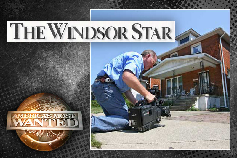 America's Most Wanted - The Windsor Star - Photo of video crew outside house video taping for America's Most Wanted.