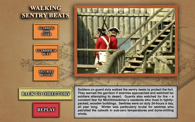 Interactive Touch Screen - A Solder's Day - Mackinac State Historic Parks