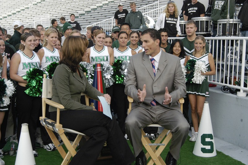 Photo from live video shot for ESPN's Cold Pizza Show at Michigan State University's football stadium.