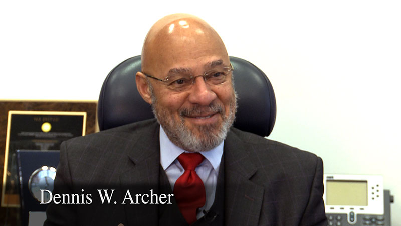 Interview of Dennis Archer by Lynn Jondahl for the Governor James J. Blanchard Living Library of Michigan Political History, sponsored by the Michigan Political History Society, recorded by Future Media Corporation.