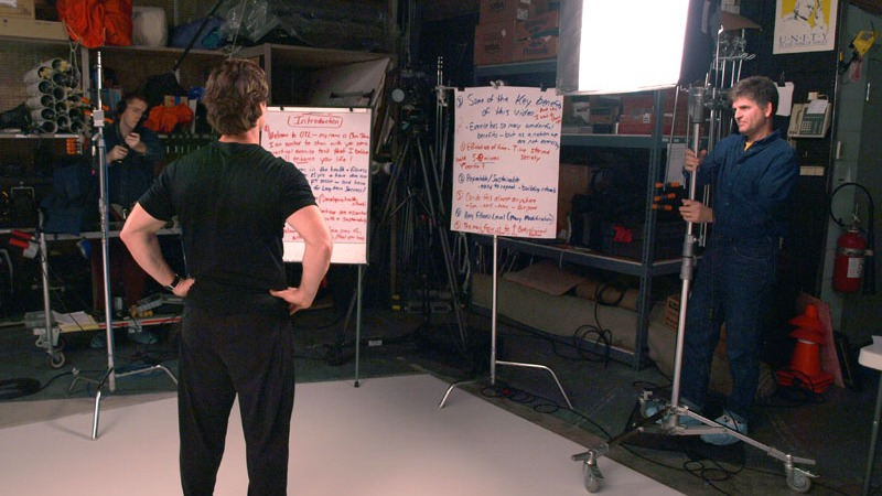 """Chris Johnson going over notes for the OnTarget Living """"Exercise"""" video prior to recording in Future Media Corporation's Studio."""