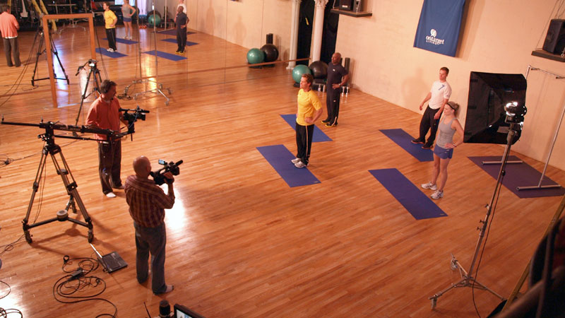 """Future Media Corporation's crew filming OnTarget Living's """"Fitness"""" exercise DVD program at the Ruhala Performing Art Center in East Lansing Michigan."""