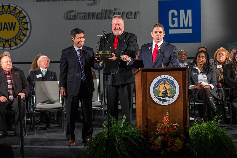Lansing Mayor Virg Bernero's 9th State of the City Speech, hosted by GM's LGR (Lansing Grand River) plant. Event services provided by Future Media Corp.