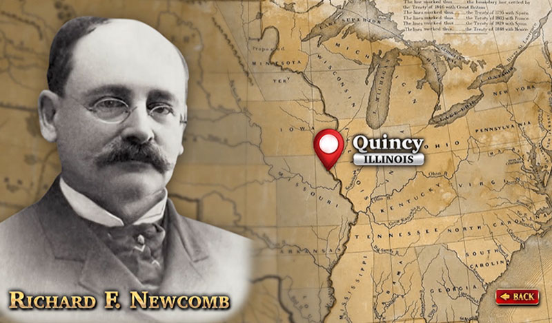 """The Historical Society of Quincy and Adams County Illinois - touch screen video – """"The Newcomb Building"""", photo of Richard F. Newcomb"""