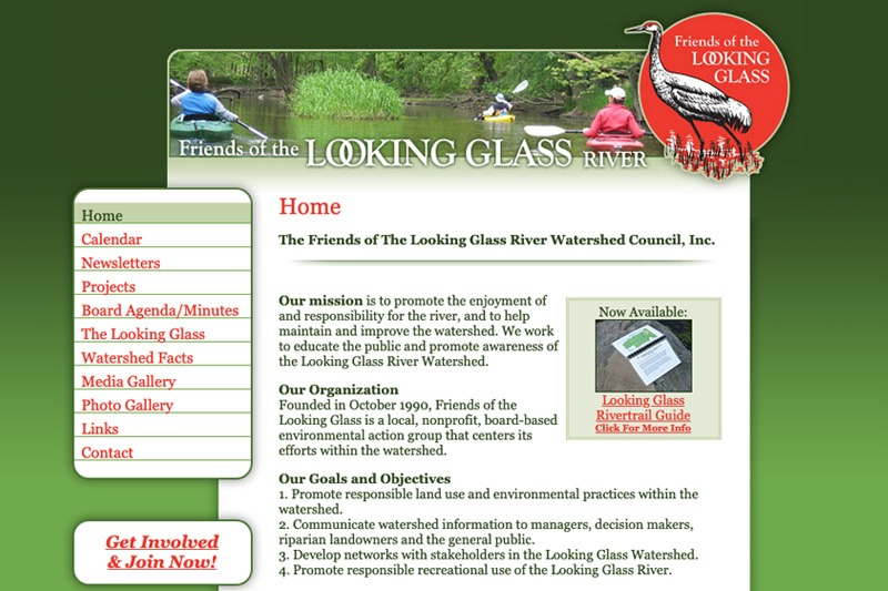 Friends of the Looking Glass River – Home page, designed by Future Media Corporation