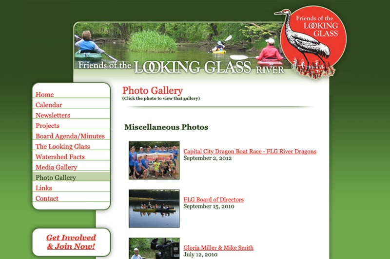 Friends of the Looking Glass River – Photo Gallery page, designed by Future Media Corporation