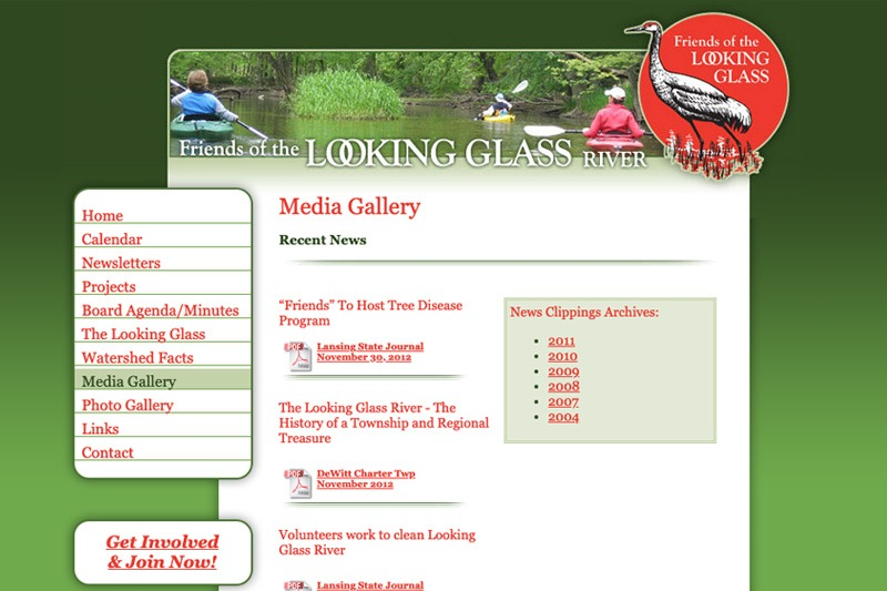 Friends of the Looking Glass River – Media Gallery page, designed by Future Media Corporation