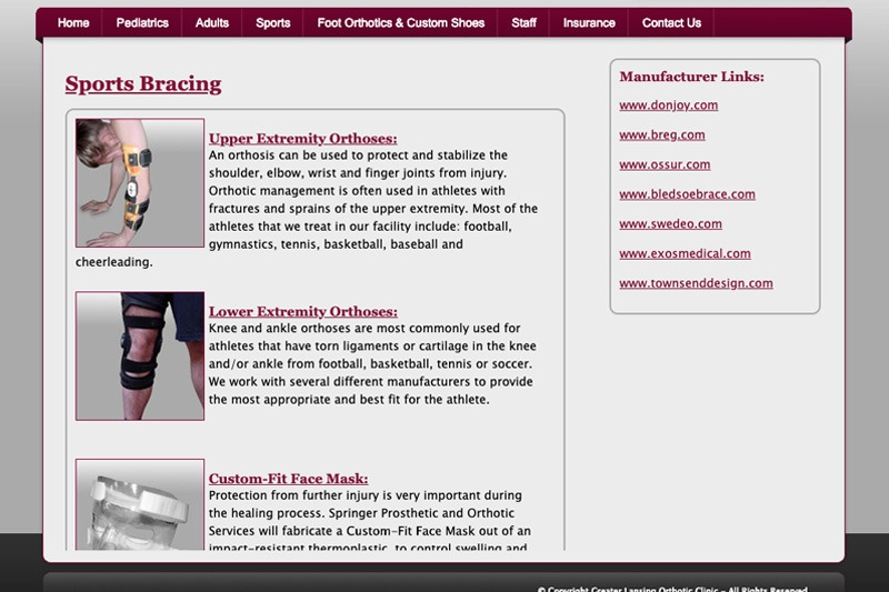 Greater Lansing Orthotic Clinic – Sports Bracing Page, designed by Future Media Corporation