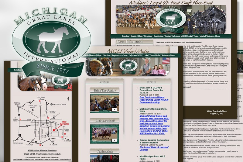 MGLI.org website - The Michigan Great Lakes International Draft Horse Show and Pull, designed by Future Media Corporation