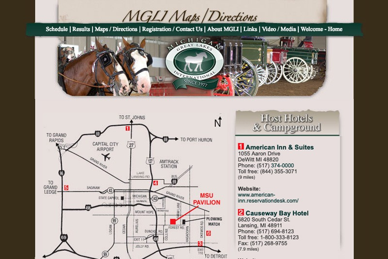 MGLI.org – Map/Directions page, designed by Future Media Corporation
