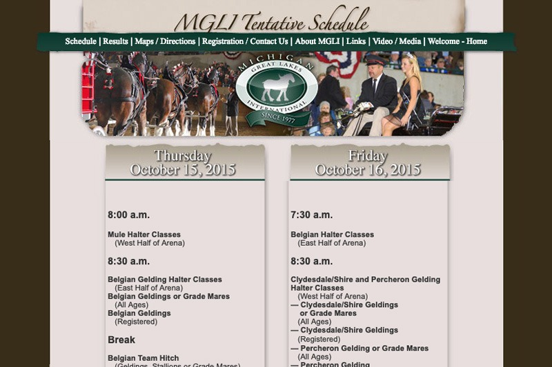 MGLI.org - Schedule page, designed by Future Media Corporation
