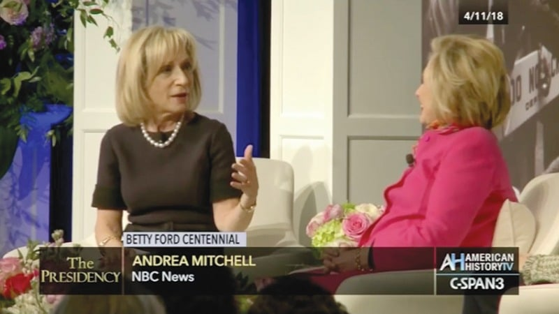 C-SPAN - Betty Ford Centennial – Andrea Mitchell asking question to Hillary Clinton, Grand Rapids Michigan