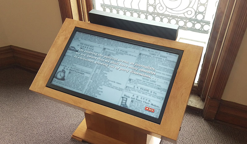 Quincy Illinois History Museum - interactive touch screen display overlooking Washington Park, Quincy Illinois