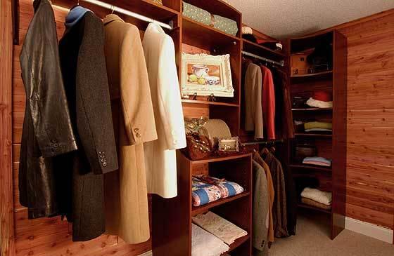 clothing in cedar closet