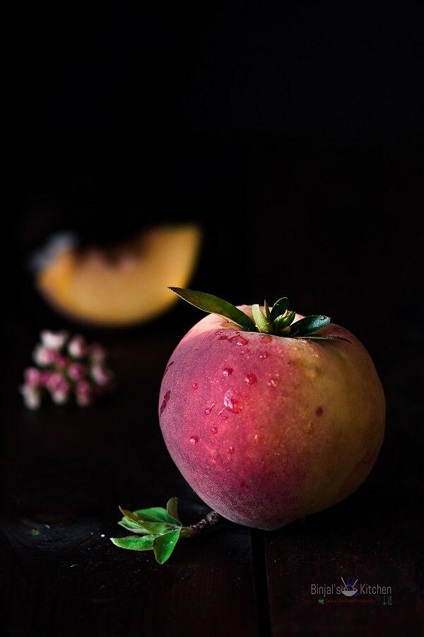No Churn Eggless Peach Ice Cream Photography