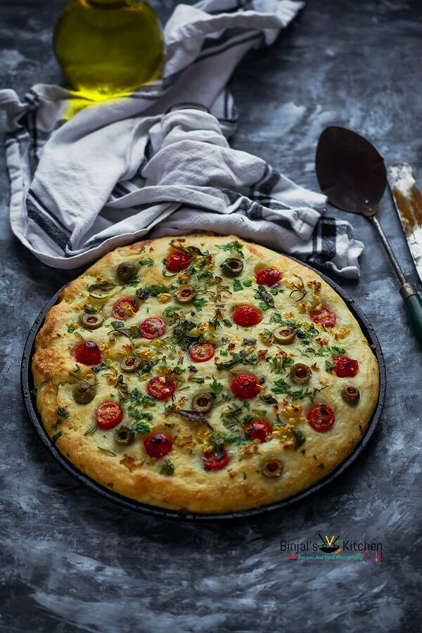 Herbed Focaccia Bread with Olive and Cherry Tomatoes