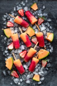 Cantaloupe Strawberry Ice Pops