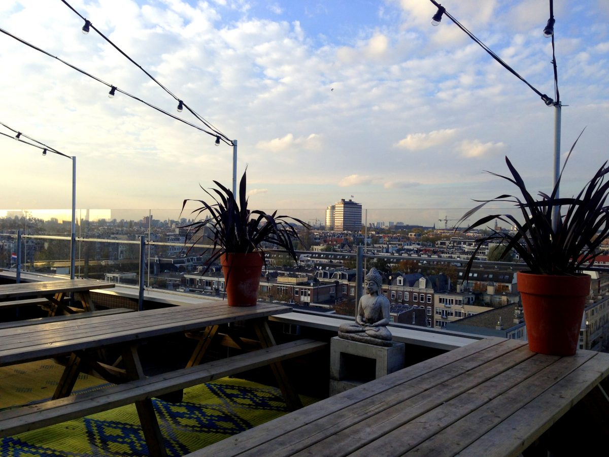 In addition to a nice place to sleep, the Volkshotel also boasts a lobby bar, downstairs club and best of all a fun rooftop bar and nightclub
