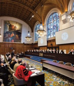 The International Court of Justice holds a public hearing in the Marshall Islands' case against India in The Hague on March 7. [Photo: Frank van Beek/ICJ-CIJ/UN]