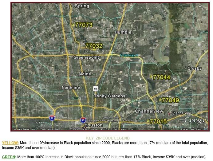 NE Houston Black population Growth Map