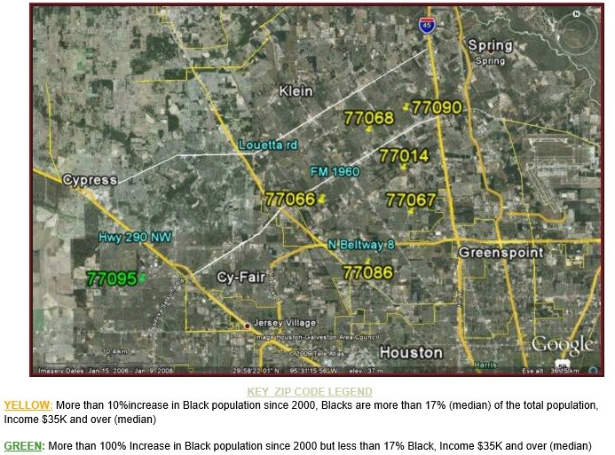 NW Houston Black population Growth Map
