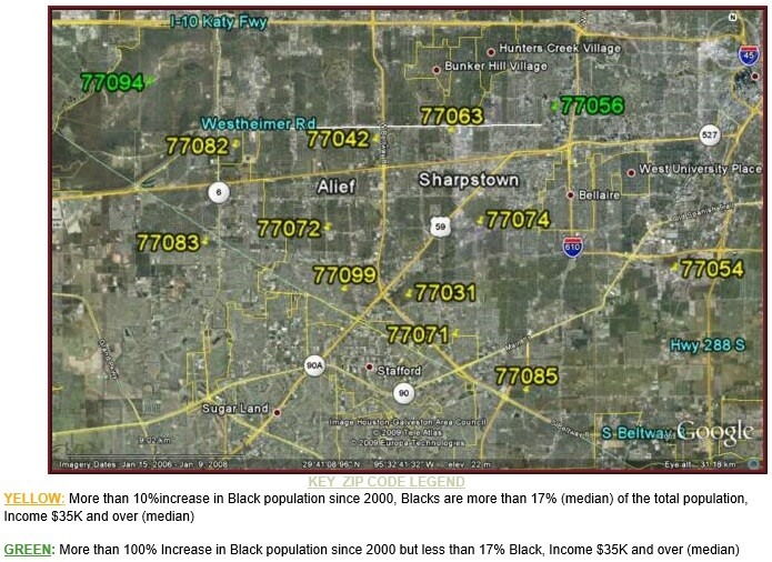 SW Houston Black Population Growth Map
