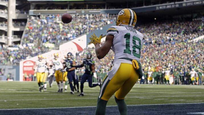 Cobb recebendo o TD dos Packers