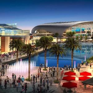 Projeto da área do novo estádio dos Rams