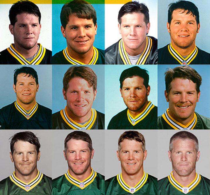 As caras de Favre ao longo dos anos nos Packers