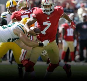 Kaepernick sofreu com o pass-rush dos Packers