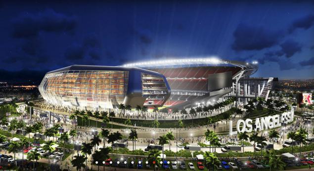 Projeto do estádio conjunto de Raiders e Chargers em LA