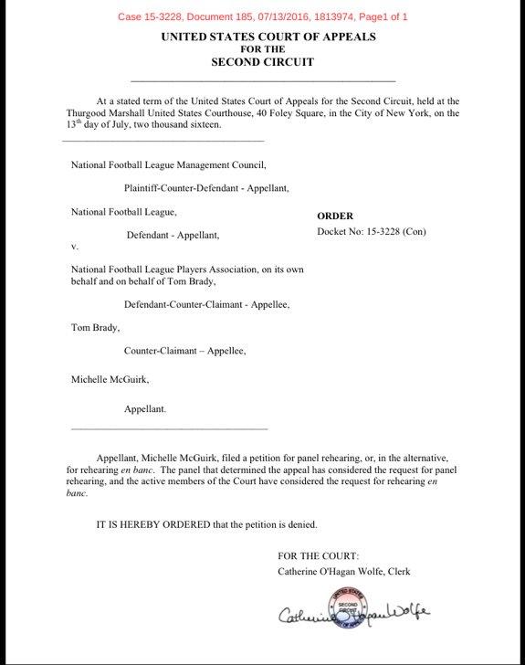 Documento negando a apelação de Tom Brady