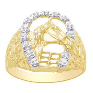 10K 0.06-0.07CT D-RING MENS RDS **HORSE SHOE**
