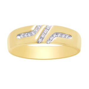 10K 0.07-0.08CT D-RING BAND MEN'S RDS