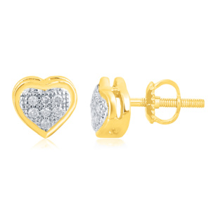 "10K 0.05CT D-EARRINGS LDS RDS MP "" HEART DOME"""