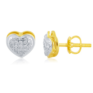 "10K 0.10CT D-EARRINGS LDS RDS MP "" HEART DOME"""