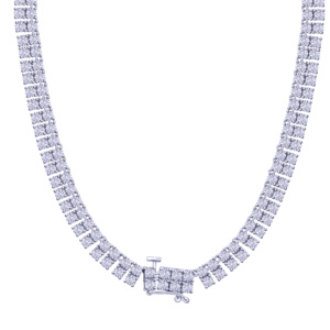 """925 SS 1.02-2.41CT D-NECKLACE MENS RDS FANUC """"2ROW"""""""