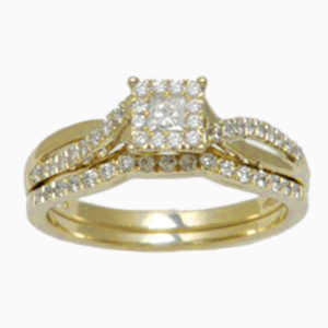 14K 0.49-0.56CT D-BRIDAL SET PCT/RDS