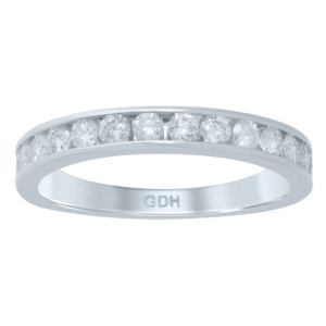14K 0.47-0.53CT D-RING BAND MACHINE LDS RDS 16 STONES